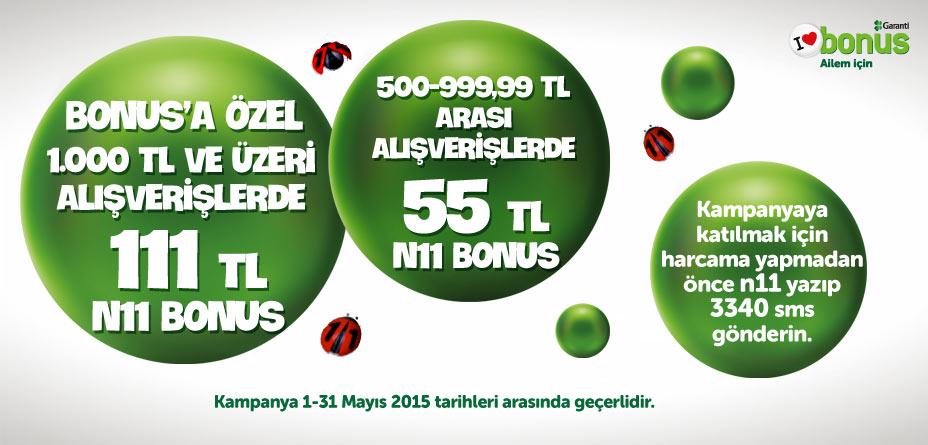 1 -31 Mayıs 2015 tarihleri arasında n11.com'dan yapacağınız alışverişlerde, 111 TL'ye varan bonus hediye!
