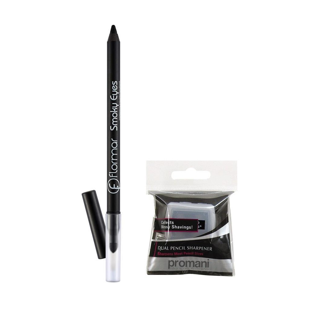 74898773 - Flormar Smoky Waterproof Eyeliner 01 Carbon Black + Promani 2 Delikli Kalemtıraş - n11pro.com