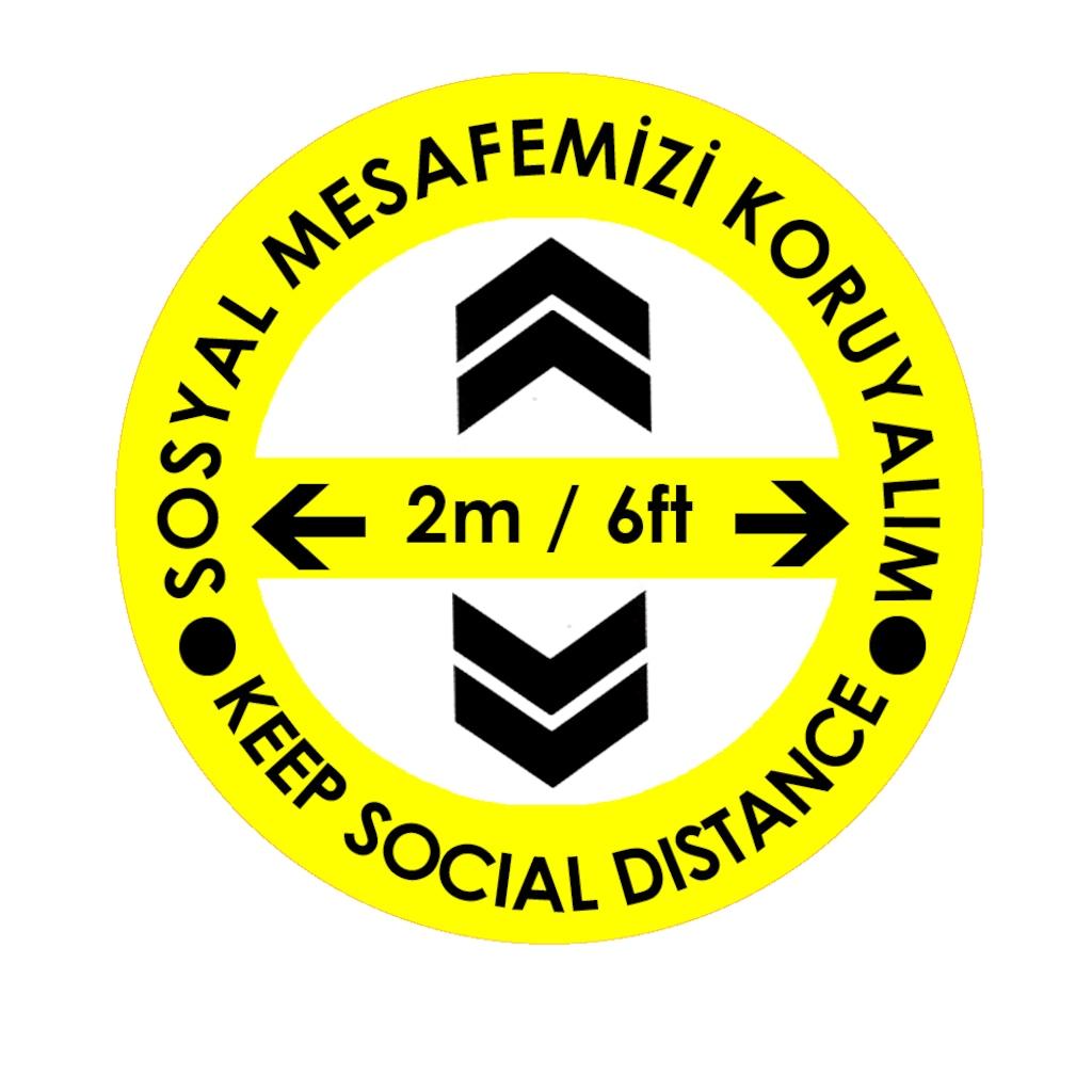 70239051 - Codegen C43-20 Türkçe-İngilizce Ok İşaretli Sosyal Mesafe Zemin Uyarı Etiket Sticker 20 x 20 CM Sarı - n11pro.com