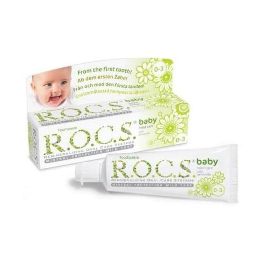 82769290 - Rocs Baby 0-3 Yaş Papatya Özlü Florürsüz Bebek Diş Macunu - 45 G - n11pro.com