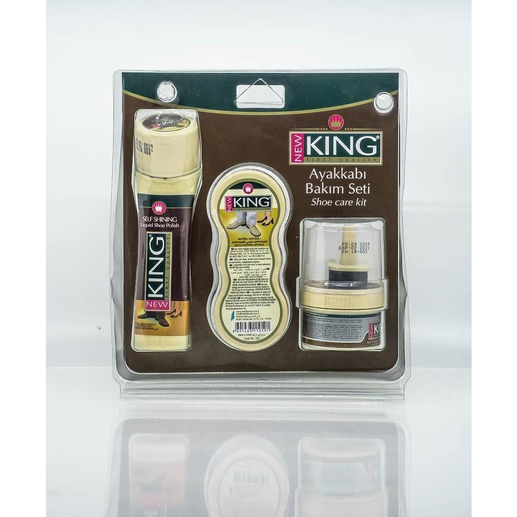 41023976 - New King 3'lü Ayakkabı Bakım Seti Kahverengi - n11pro.com