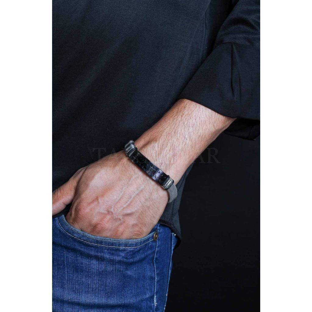 41657842 - Vercetti Simetrik Tasarım Çelik & Hasır Kordon Bileklik Siyah - n11pro.com