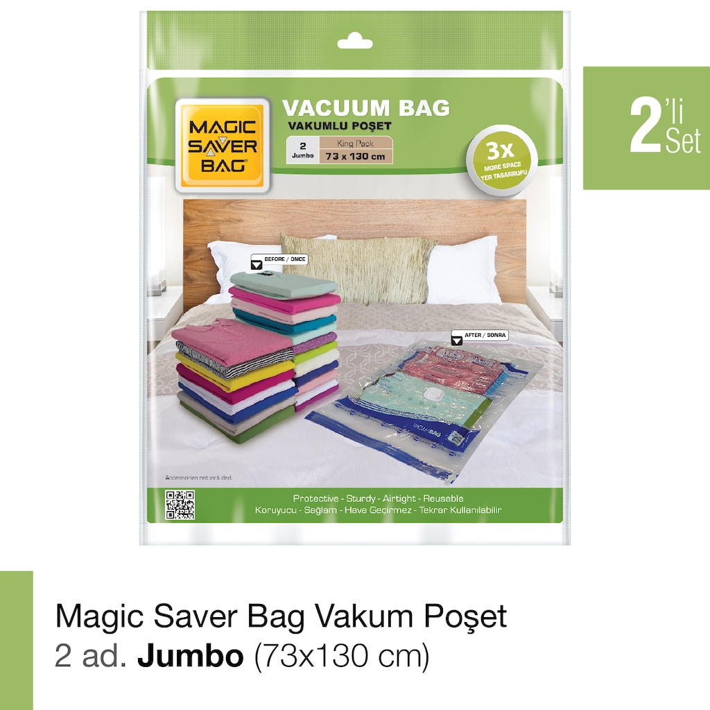 59152831 - Magic Saver Bag 2'li Jumbo Vakumlu Poşet Seti Şeffaf 73 x 130 CM - n11pro.com