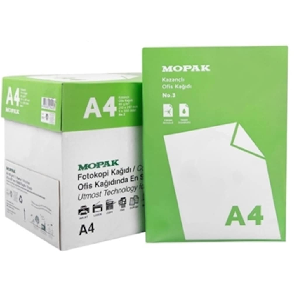 36483395 - Mopak Kazançlı 80 GR A4 Fotokopi Kağıdı 500'lü Paket 5'li Kolide - n11pro.com