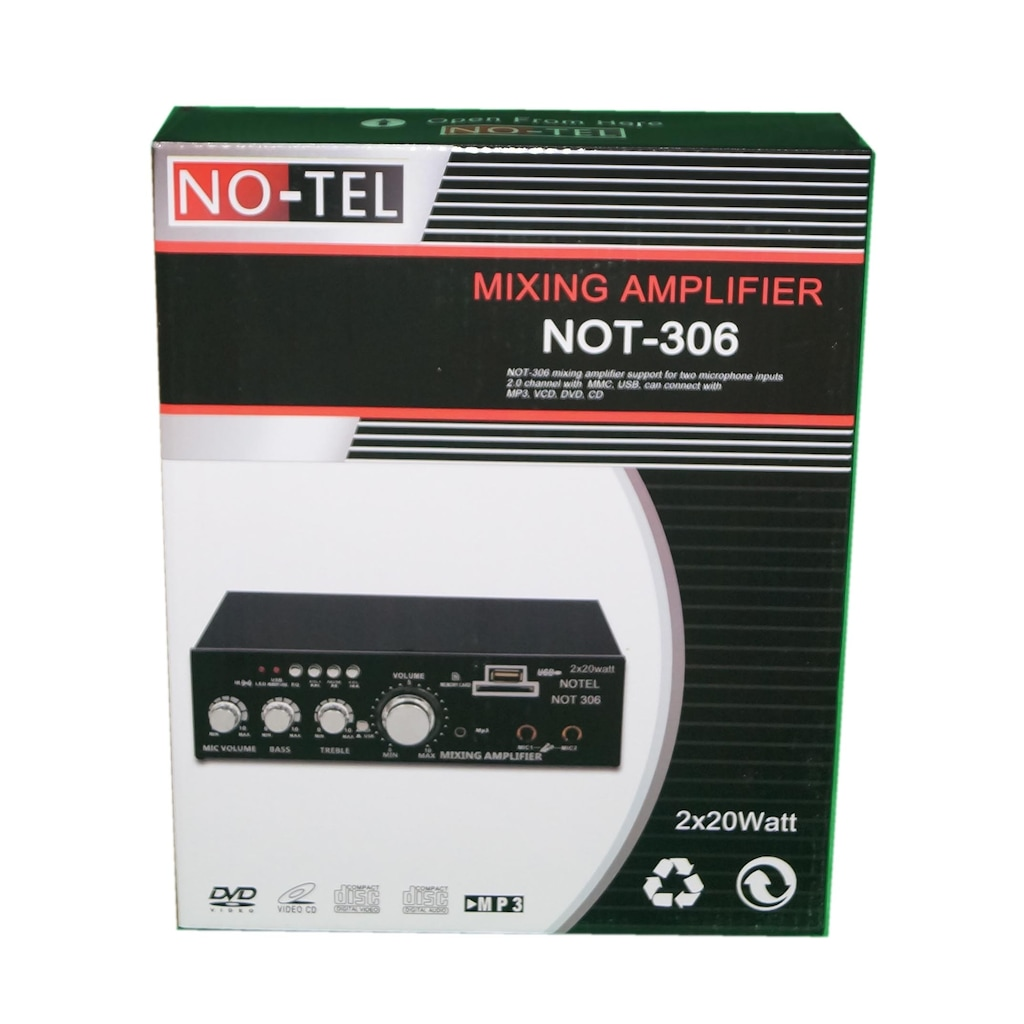 16056414 - Notel Not 306 2 x 20 W Bluetooth+SD+USB Destekli Amfi - n11pro.com