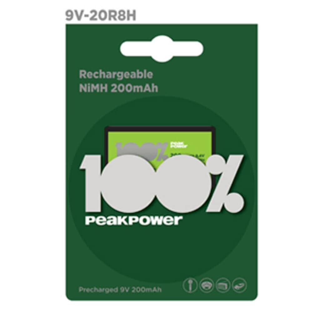 36743030 - Peak Power Tekli Şarj Edilebilir 200 mAh 9V Pil PP20R8H-2U1 - n11pro.com