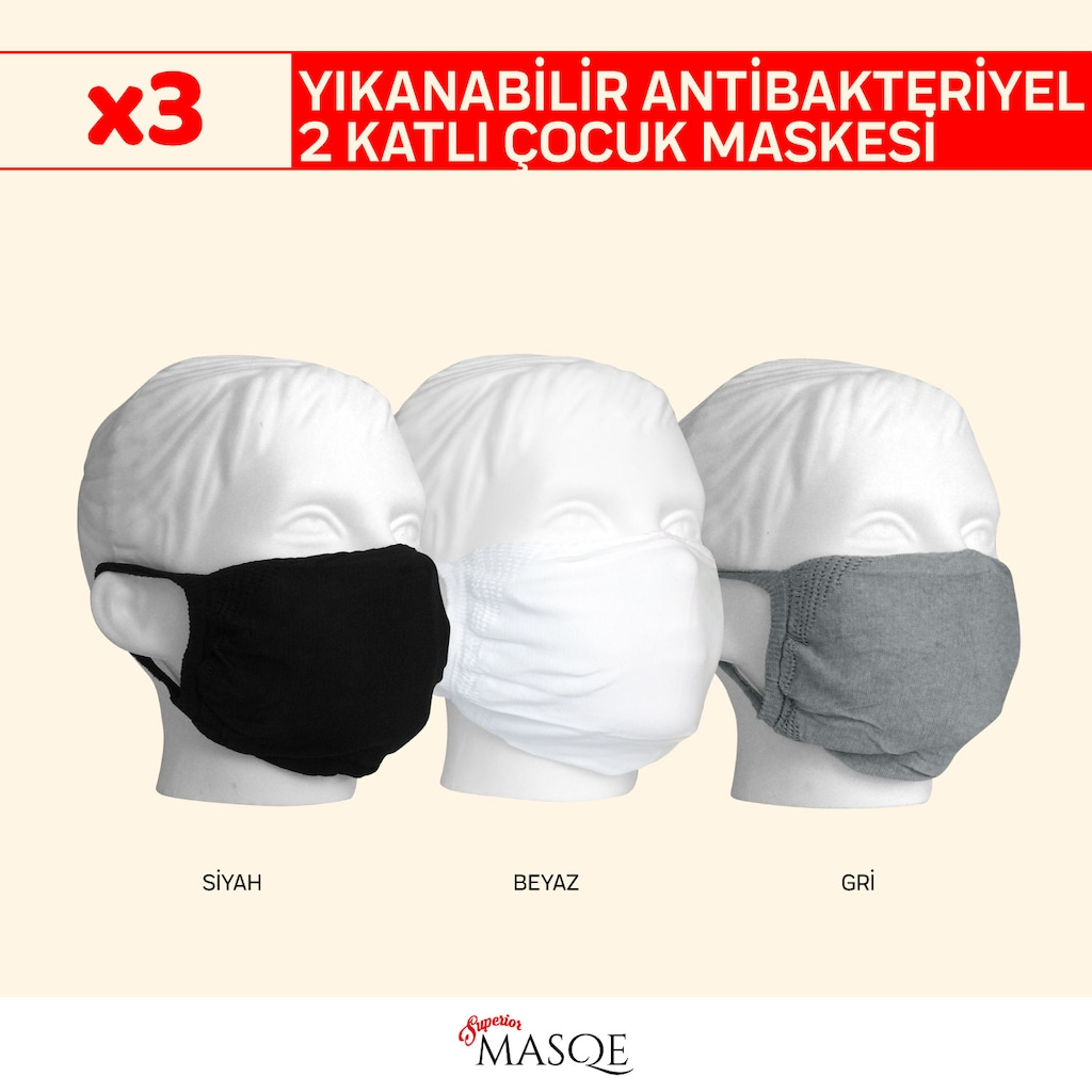 40629370 - Superior Masqe 2 Katlı Yıkanabilir Antibakteriyel Erkek Çocuk Maskesi 2-8 Yaş 3 Adet - n11pro.com