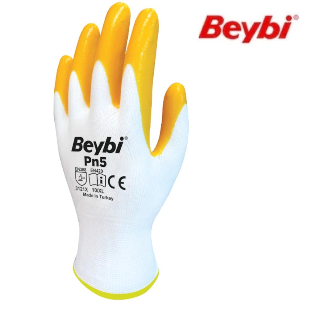45971733 - Beybi PN5 İşçi Eldiveni Beyaz-Sarı 10 - n11pro.com