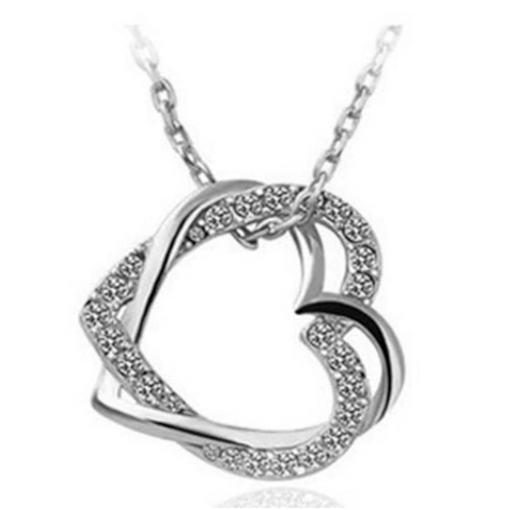 46593239 - Myfavori Beyaz Taşlı Gümüş Kaplama Çift Kalp Kolye - n11pro.com