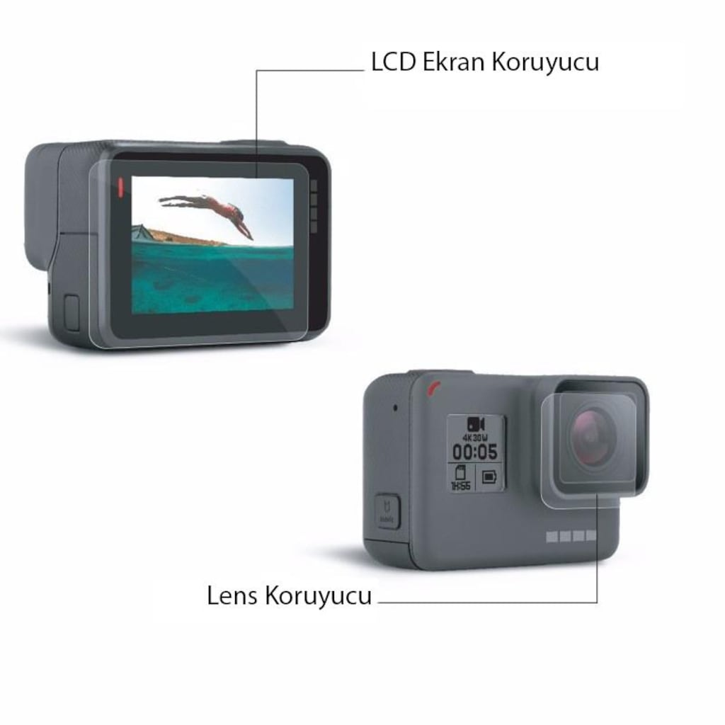 87790073 - Knmaster GoPro Hero 5 6 7 Uyumlu Ekran ve Lens Koruyucu - n11pro.com
