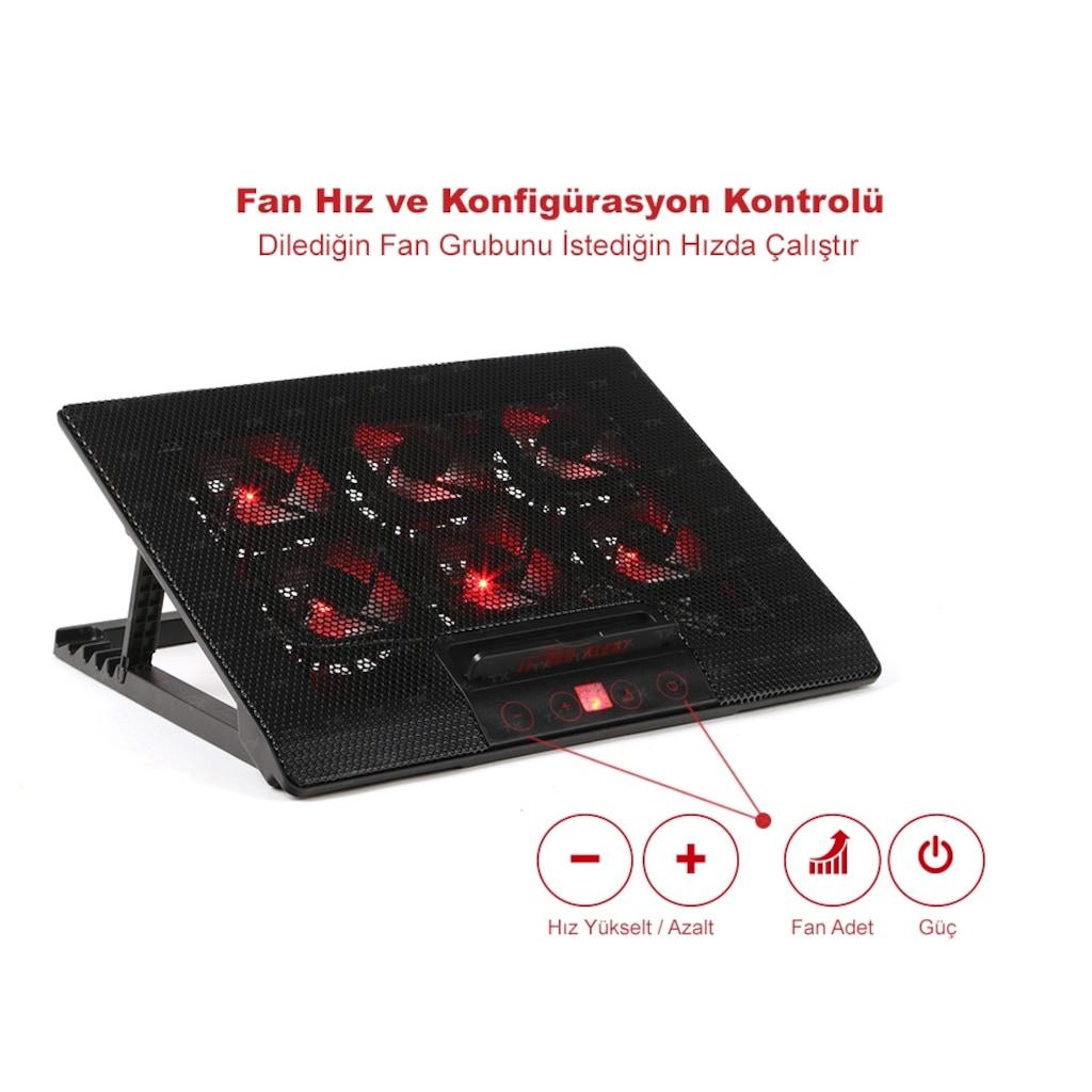 "95667308 - TX TXACNBRED Red Alert 6 Fanlı 11"" - 17"" Notebook Soğutucu - n11pro.com"