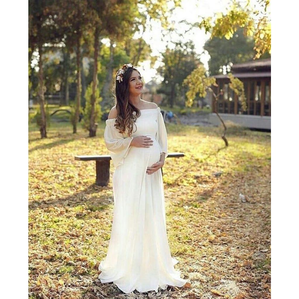 11cbcab78b020 Moda Labio- Düşük Omuz Kadife Astarlı Hamile Elbisesi Beyaz
