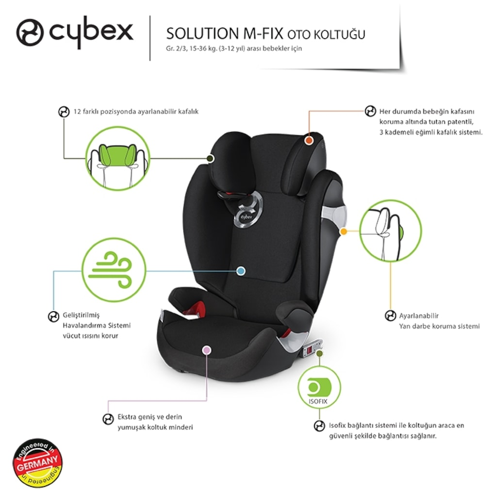 cybex solution m fix 15 36 kg isofix ocuk oto koltu u. Black Bedroom Furniture Sets. Home Design Ideas