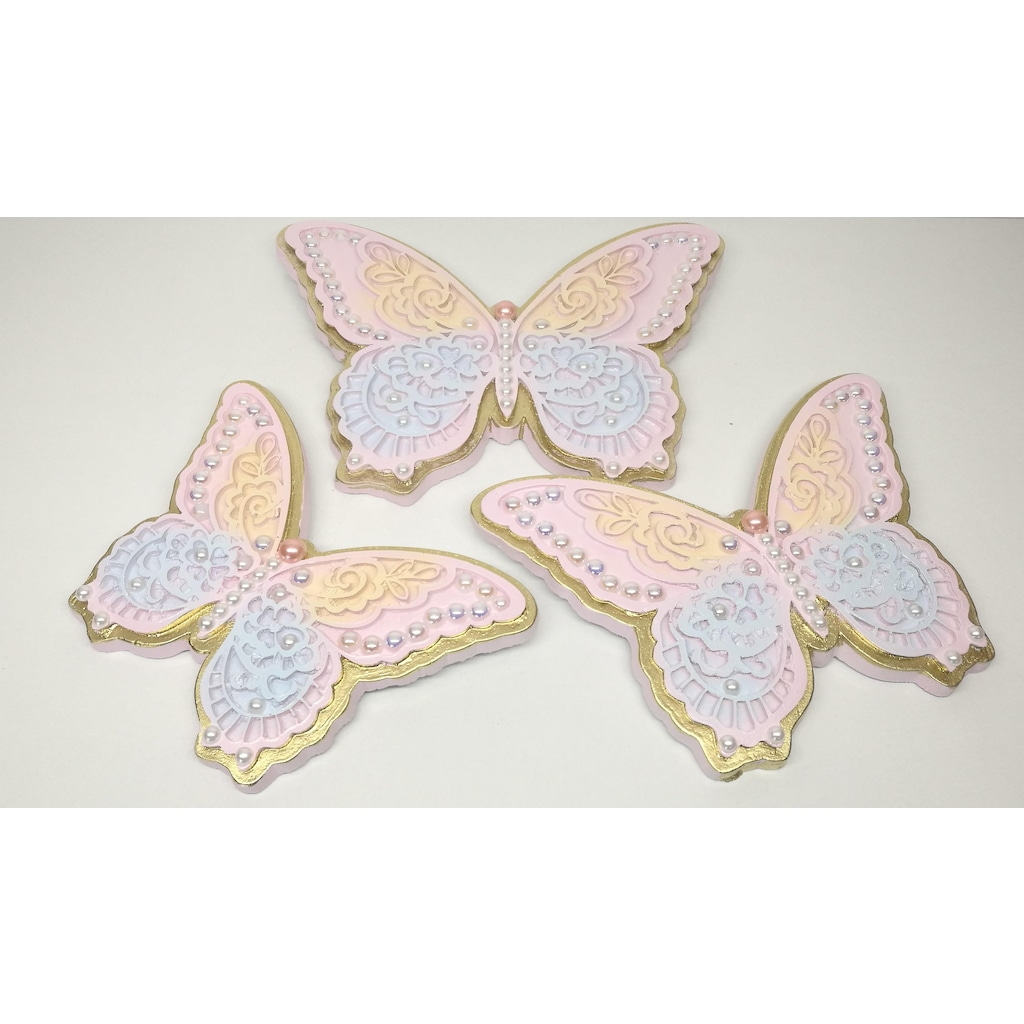 Polyester El Boyama 3lü Kelebek Duvar Süsü Dekoratif Obje N11com