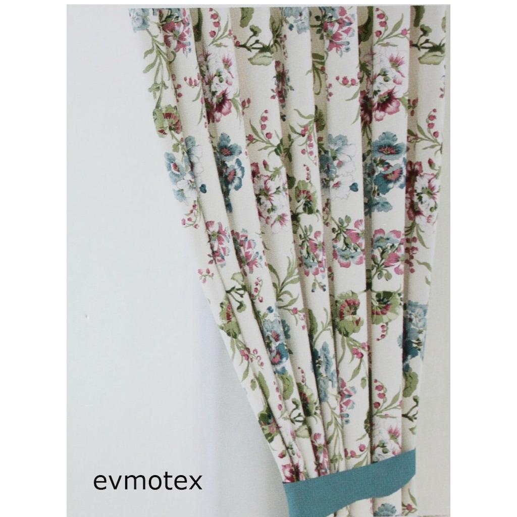Evmotex fon perde turkuaz cicekli 170x270 cm for Salon designer online