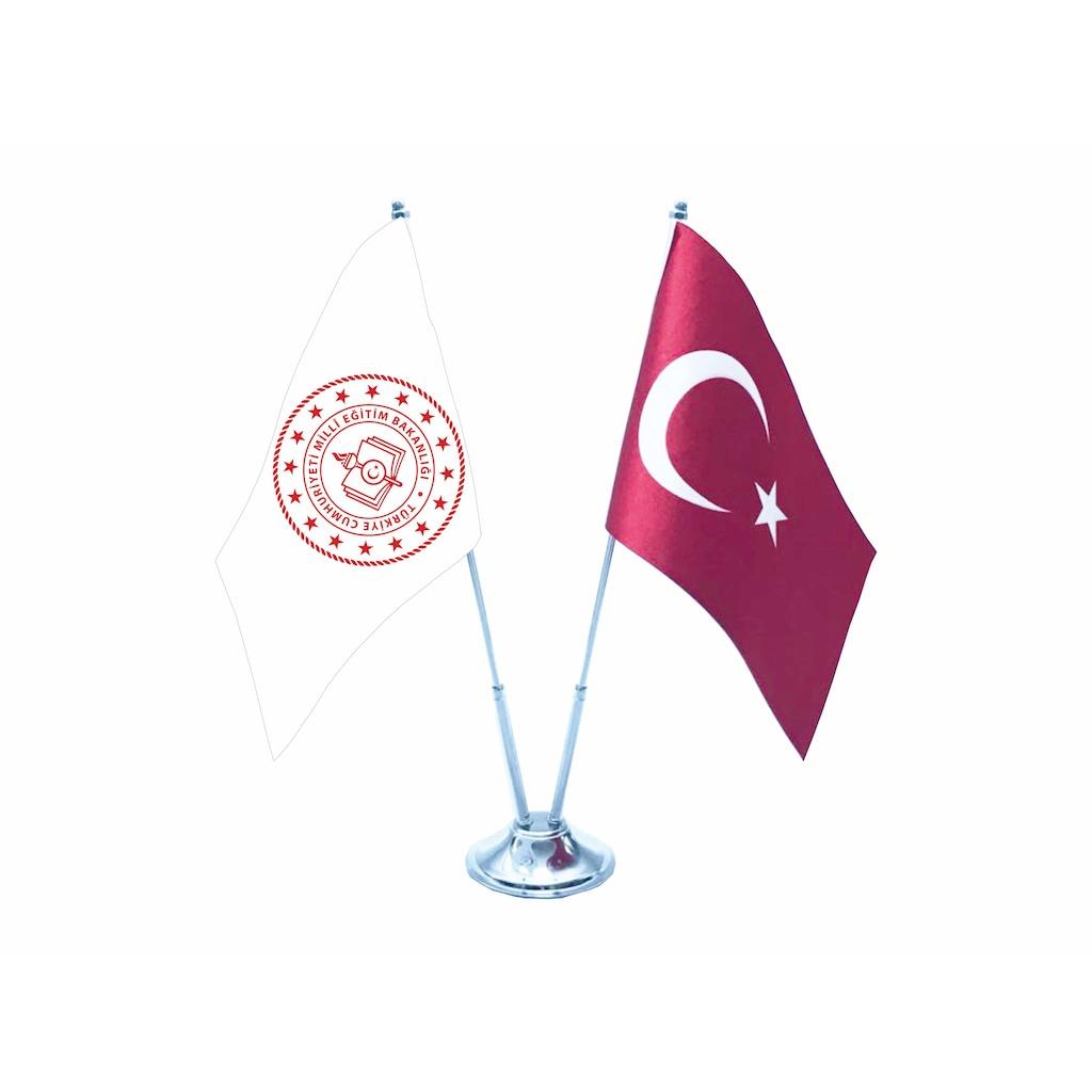 Gonder Bayrak Turk Ve Meb Yeni Logo Ikili Masa Bayragi