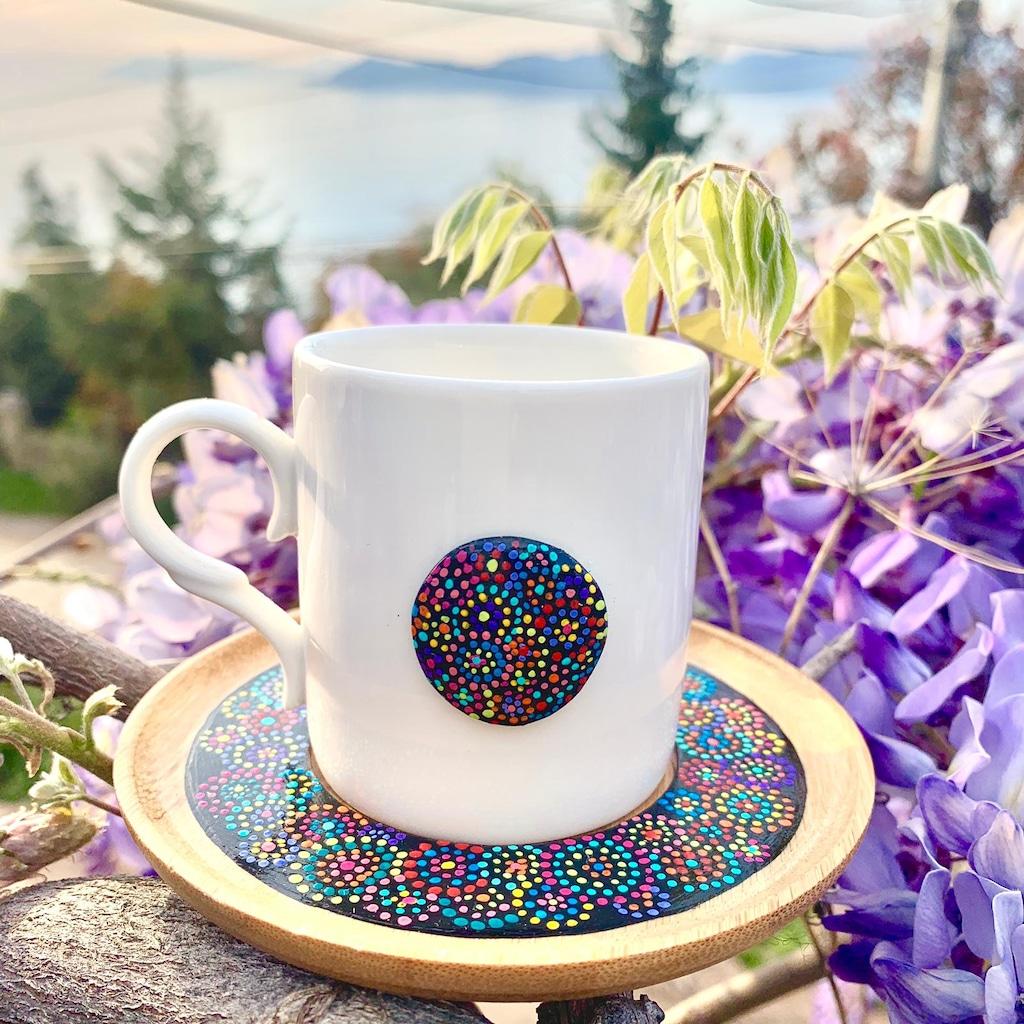Tas Boyama Renkli Mandala Kahve Fincani Seti 2 Li N11 Com