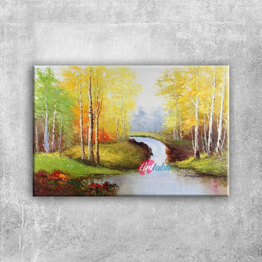 Orman Nehri Doğa Manzaraları 1 Yağlı Boya Sanat Kanvas Tablo N11com