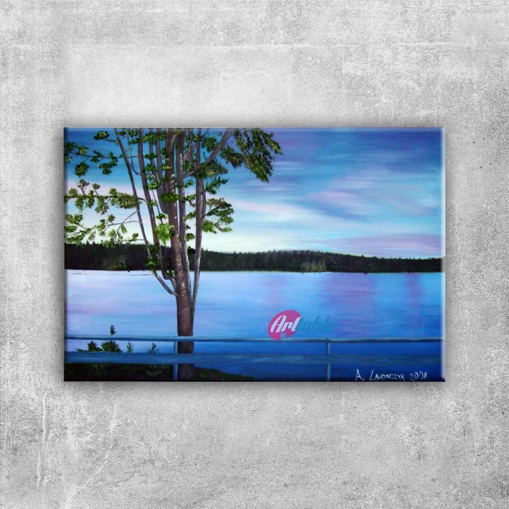 Orman Nehri Doğa Manzarası 11 Yağlı Boya Sanat Kanvas Tablo N11com