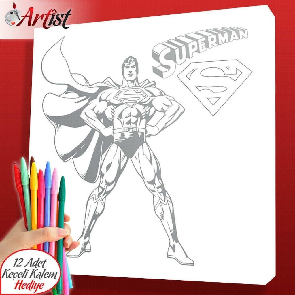 Yetişkinler Için Dekoratif Kanvas Superman Boyama Tablosu 25x25 C