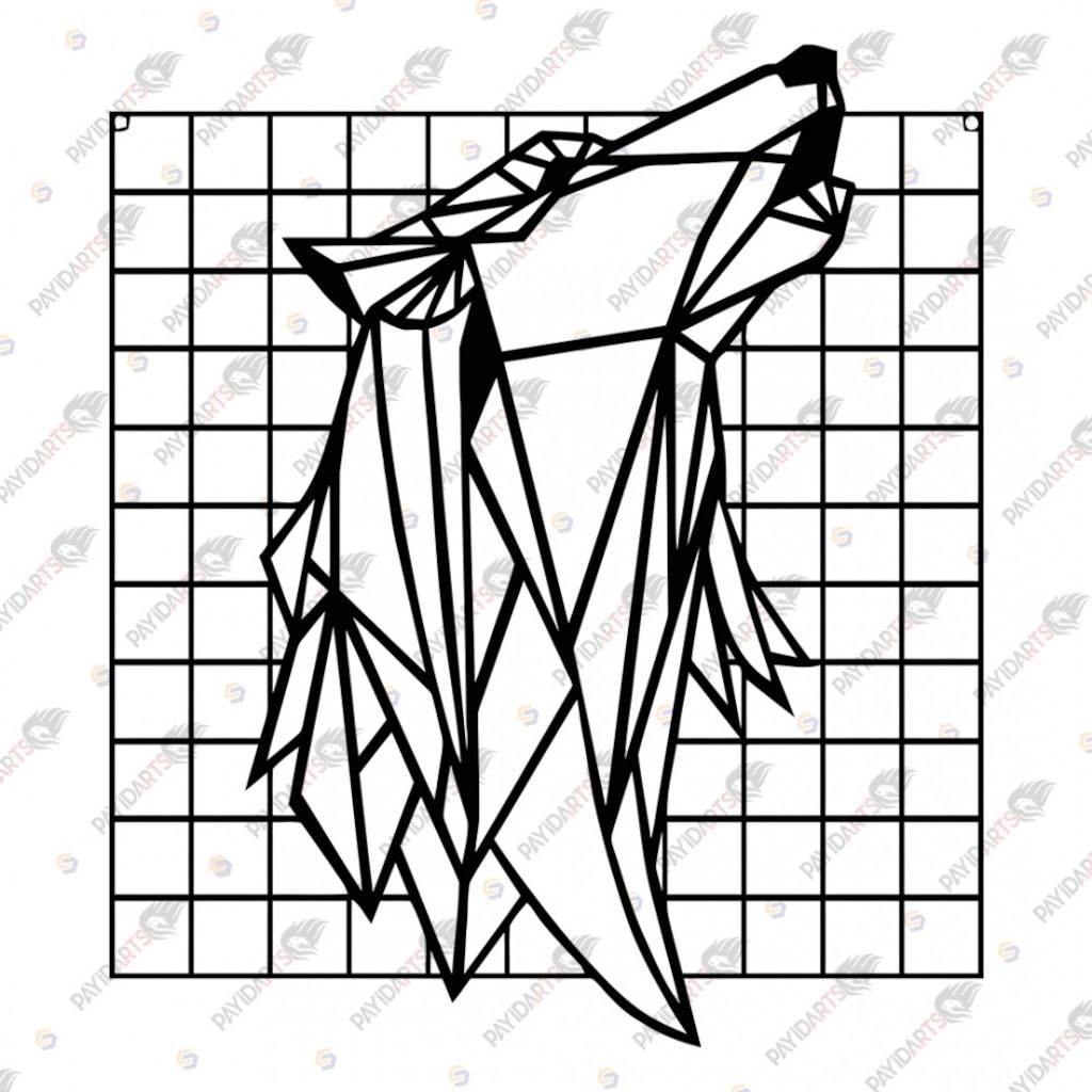 Cerceveli Uluyan Kurt Dekoratif Lazer Kesim Metal Tablo 70x80