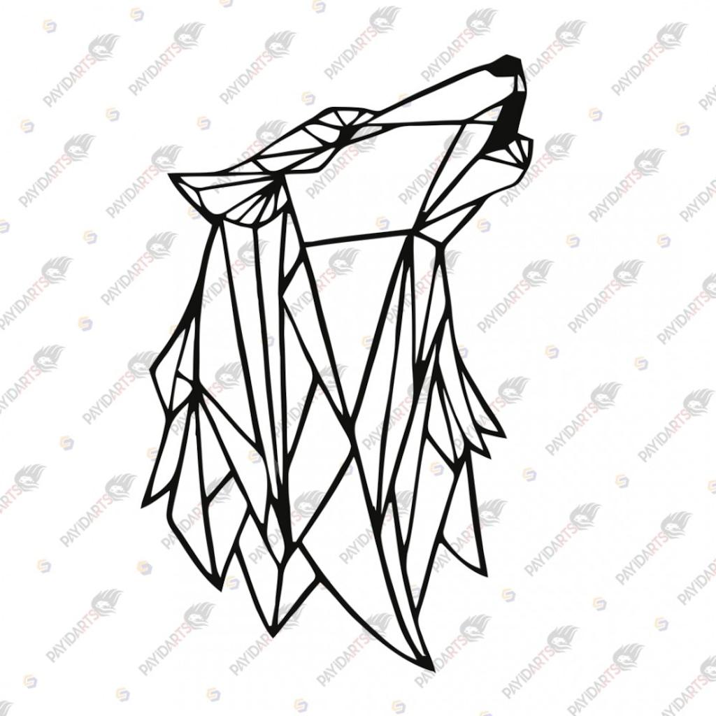 Geometrik Uluyan Kurt Dekoratif Lazer Kesim Metal Tablo 57x92