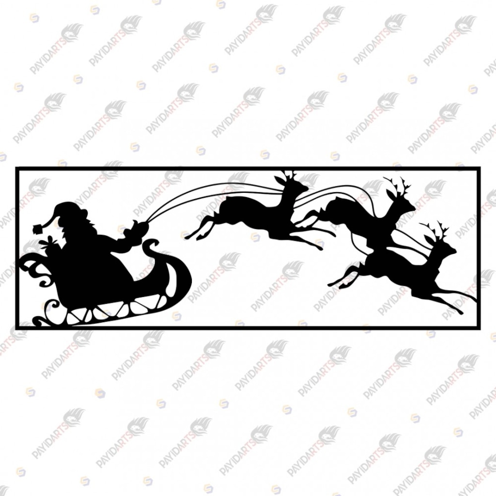 Noel Baba Geyikleri Dekoratif Lazer Kesim Metal Tablo 30x80 N11 Com