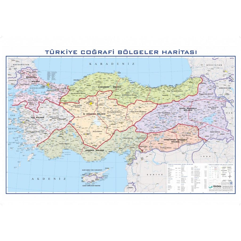 Türkiye Bölgeler Haritası 70x100cm N11com