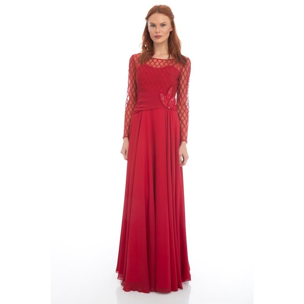 c20baa4cd8042 Pierre Cardin Kırmızı Dantelli Uzun Kollu Abiye Elbise - n11.com