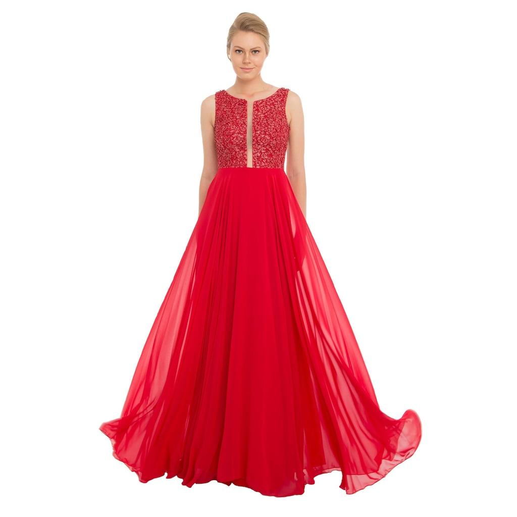 9b04a3567ed05 Pierre Cardin Kırmızı Şifon Dekolteli Uzun Abiye Elbise - n11.com