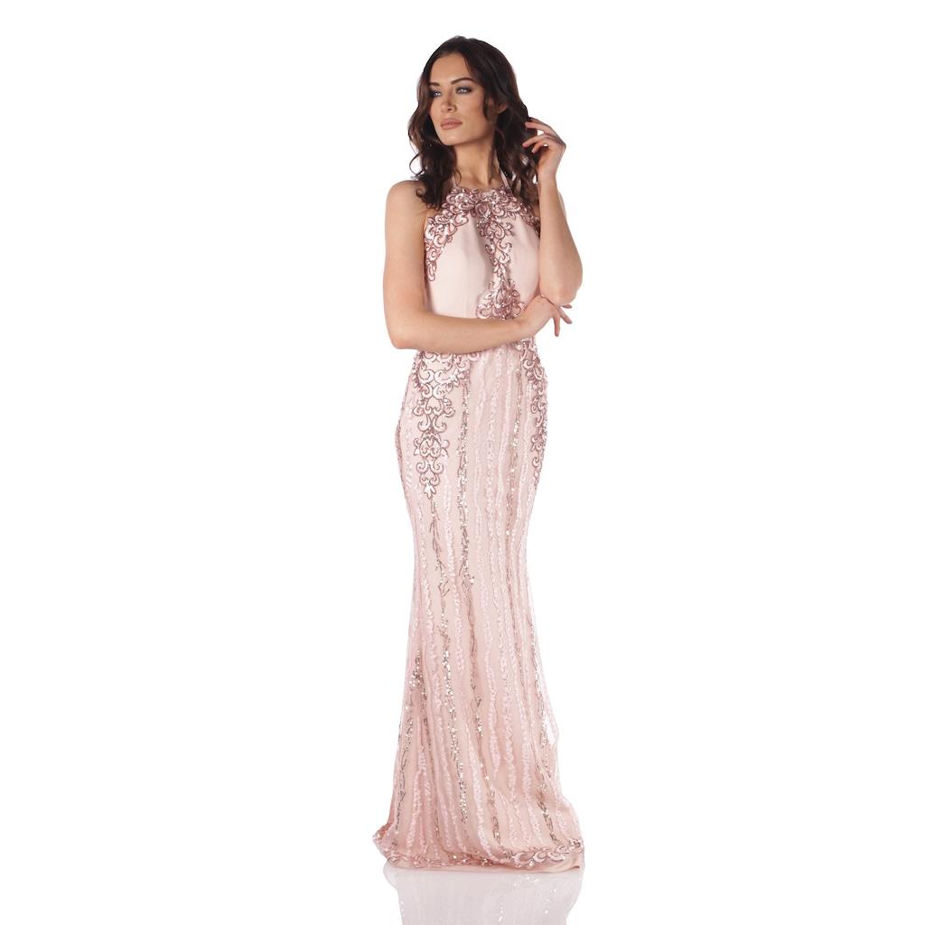 b519c5a227aa1 Pierre Cardin Pudra Payet İşlemeli Yırtmaçlı Uzun Abiye Elbise - n11.com