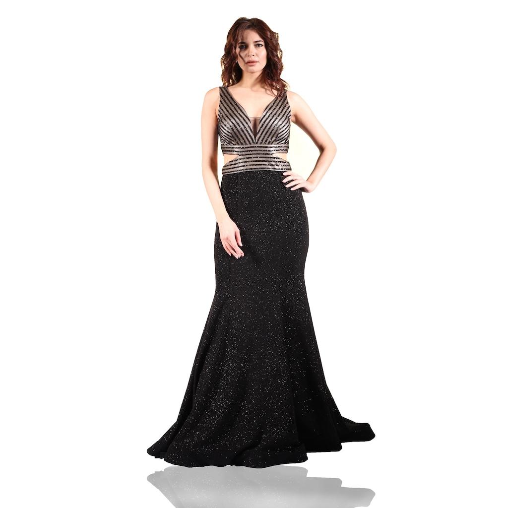 45df963f1c984 Pierre Cardin Siyah Simli Uzun Balık Abiye Elbise - n11.com