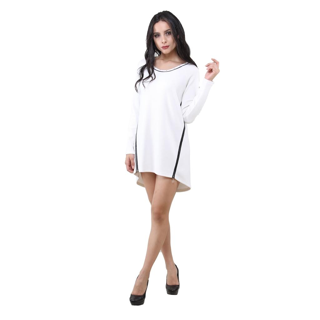 a09dca15c57a5 3020 Dodona Fermuarlı Beyaz Şık Abiye Gece Kışlık Elbise - n11.com