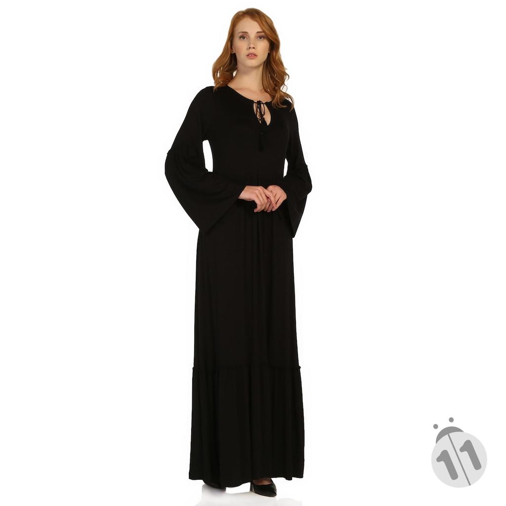 c4b01636fc0cb Boyundan İp Aksesuarlı Bol Kesim Uzun Kollu Uzun Elbise - n11.com