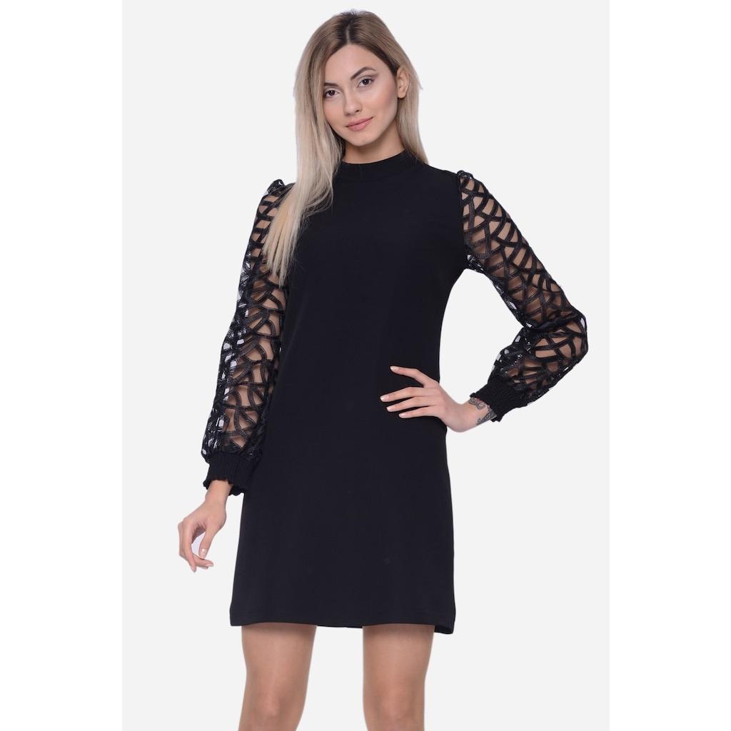 8344abeab34c5 İroni Kolları Güpür Bayan Siyah Mini Elbise - n11.com
