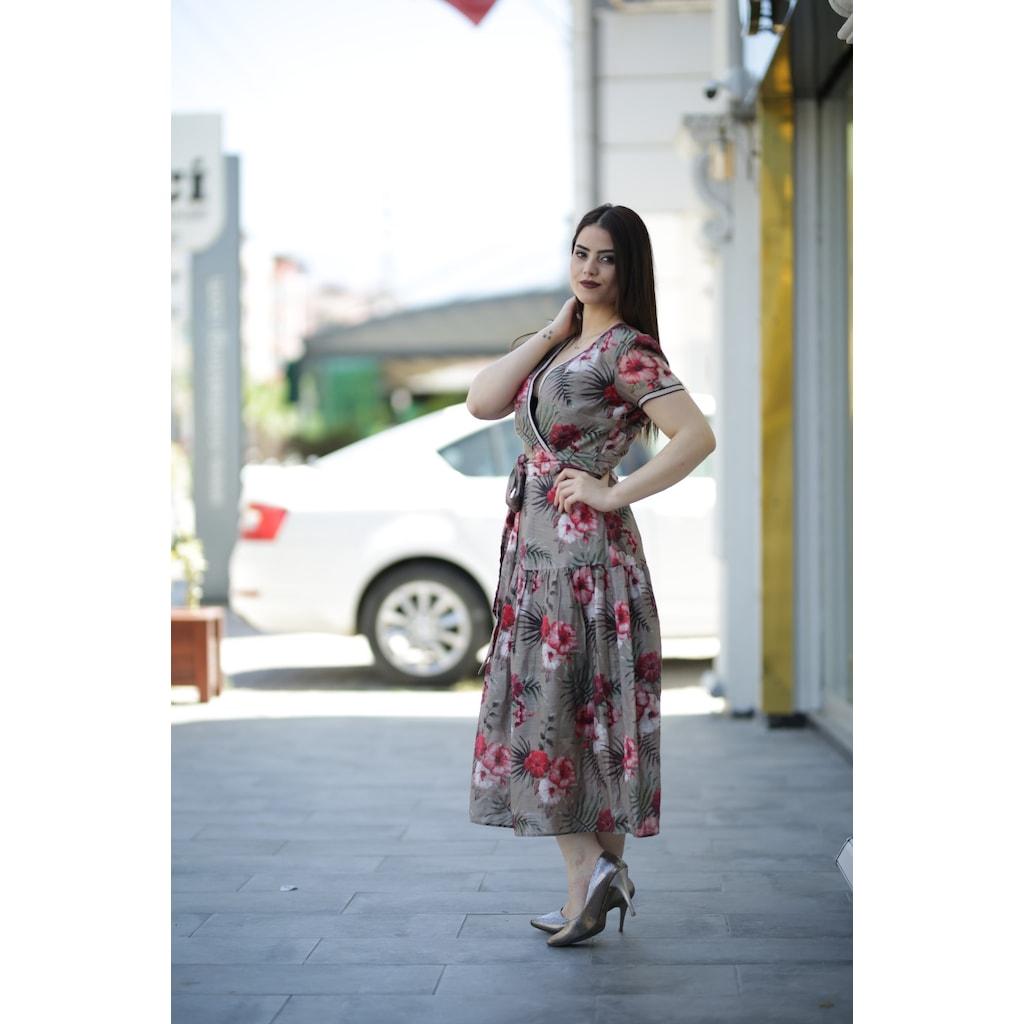 e0ab70b1a0c01 Yazlık İnce Keten Elbise - Çiçekli - n11.com