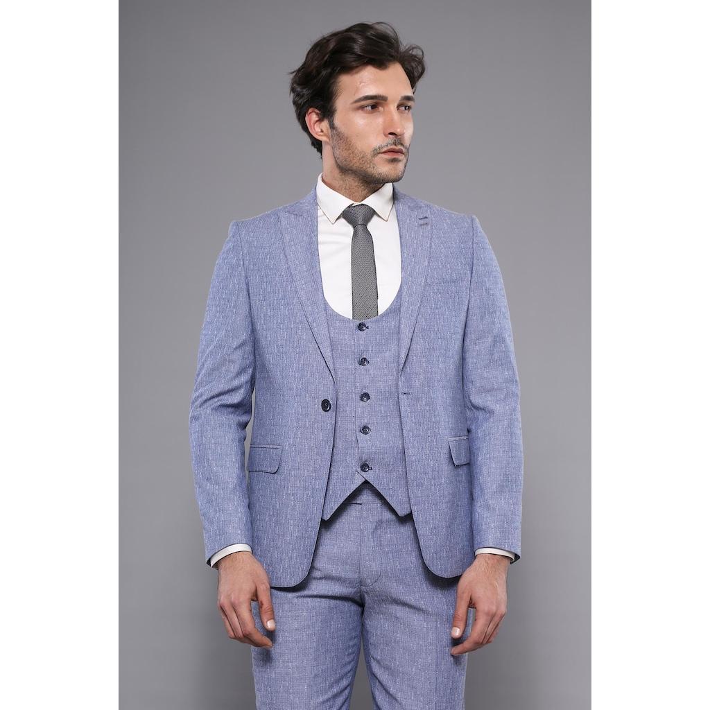 e4b68b289d194 Tek Düğme Sivri Yaka Mavi Yelekli Takım Elbise | Wessi - n11.com