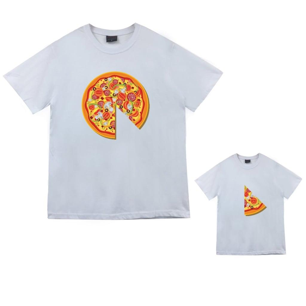Annebaba çocuk Pizza Baskılı Beyaz çift Tişörtü St15 N11com