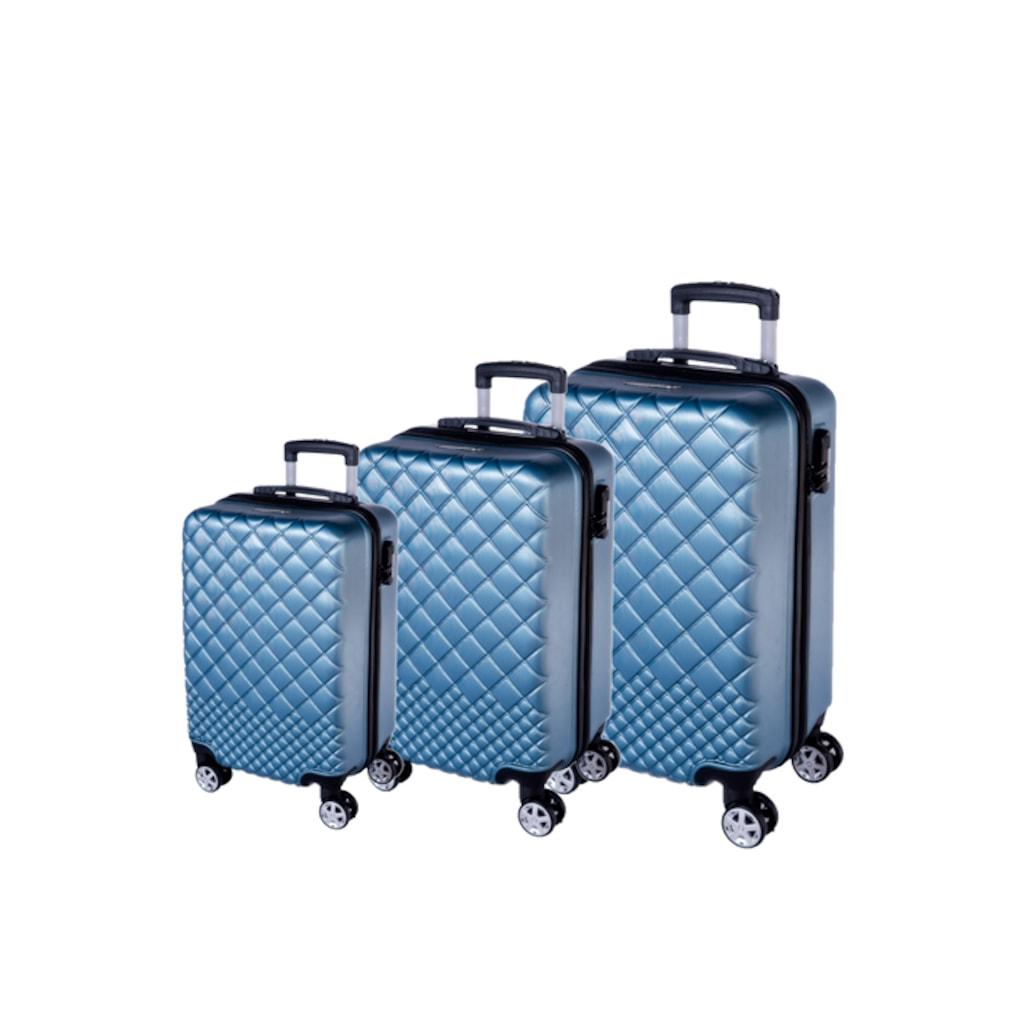207813a628ac7 Mybagss Mavi Baklava Desenli 3'lü Kırılmaz Valiz Seti - n11.com