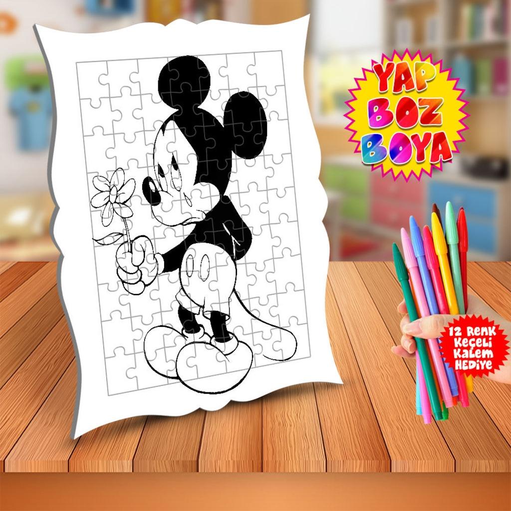 Aglayan Mickey Mouse Egitici Boyama Puzzle Tablo Cocuk Mm 136