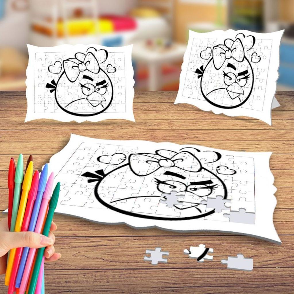 Angry Birds Boyama Puzzle Tablo Cocuk Egitici Yapboz N11 Com