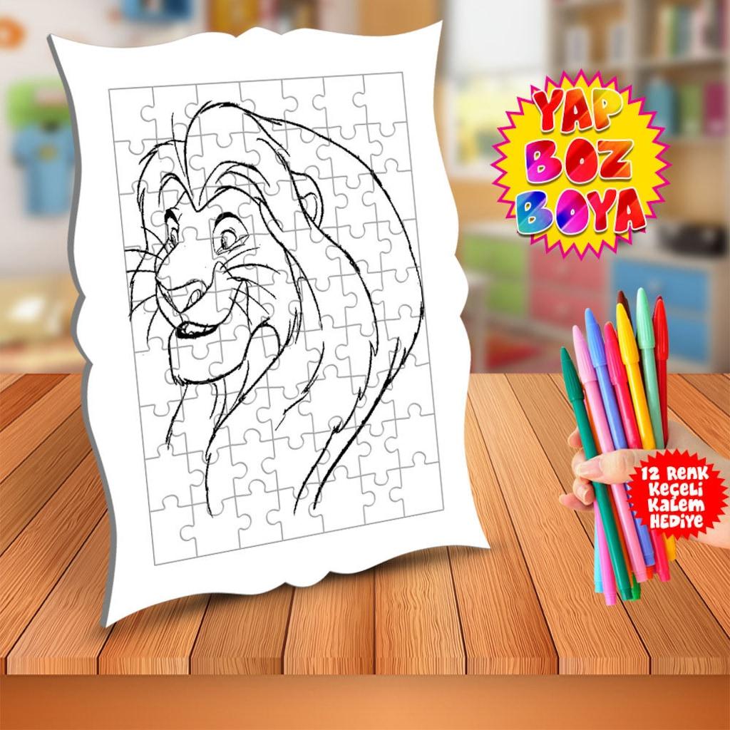 Aslan Kral Uzun Yeleli Mufasa Cocuk Boyama Puzzle Tablo 638 N11 Com