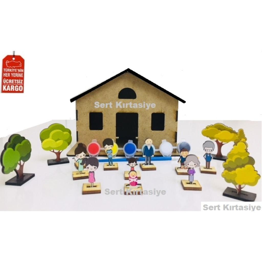 Ahşap Ev Ağaç Ve Ahşap Minyatür Aile N11com