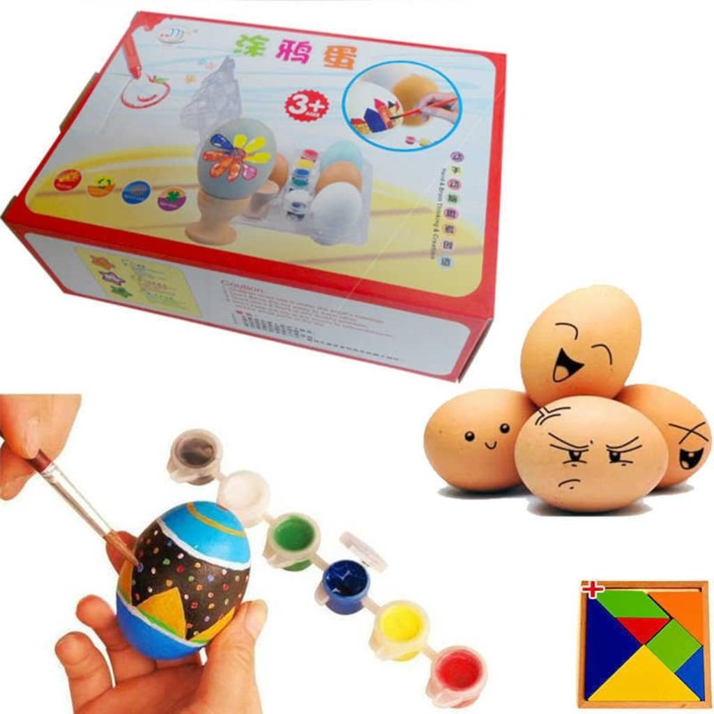 Ahşap Yumurta Boyama Seti 12 Parça Eğlenceli Yumurta Boyama N11com