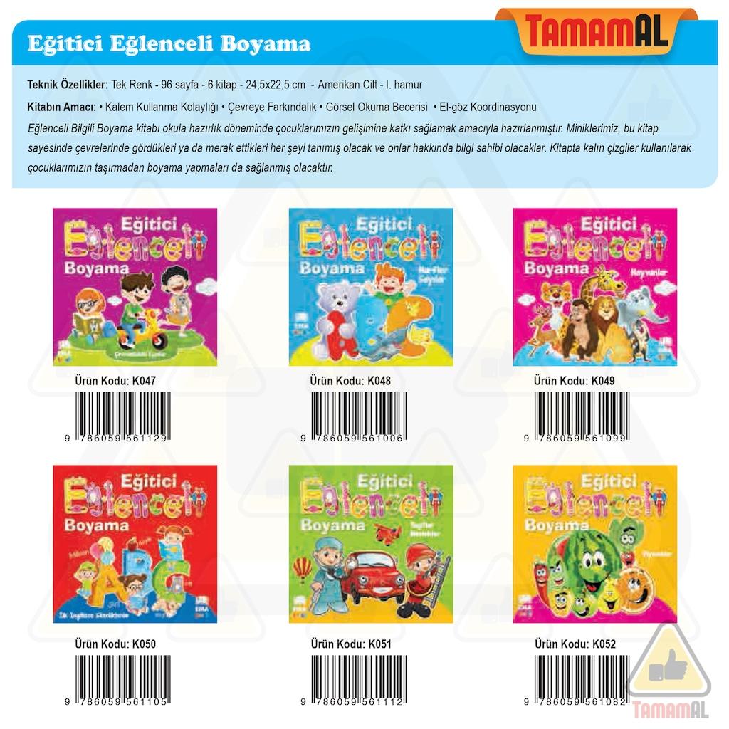Okul öncesi Eğlenceli Bilgili Boyama 6 Kitabı Seti N11com