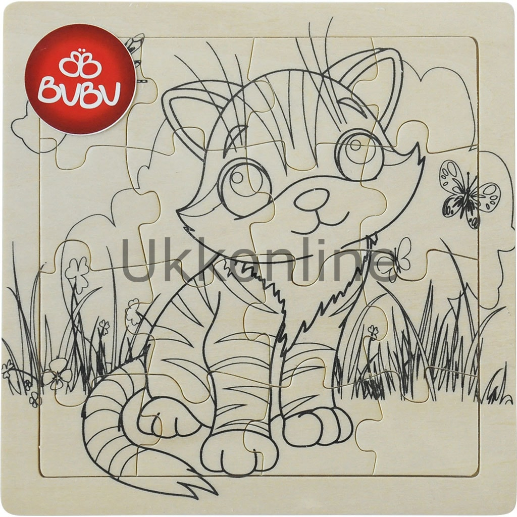Bu Bu Ahşap Puzzle Boyama Kedi N11com