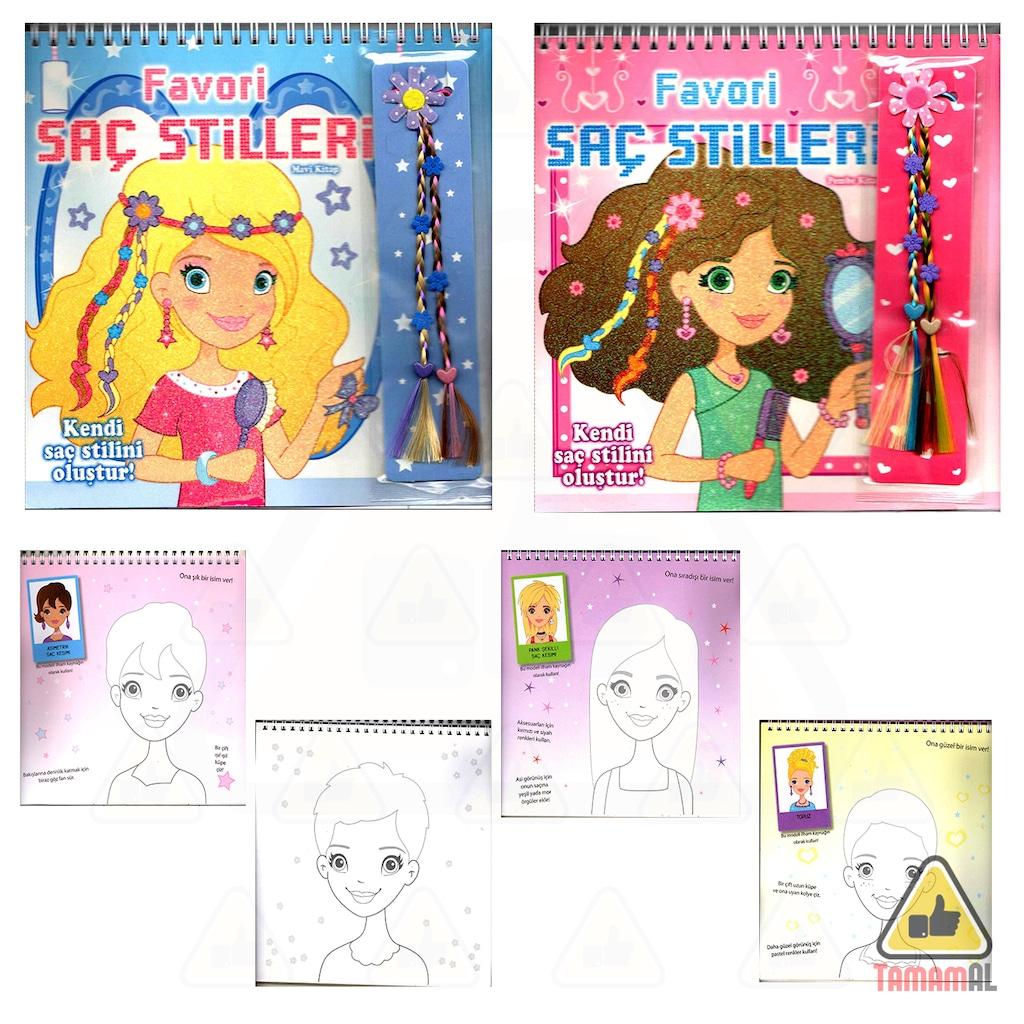 Favori Kendi Saç Stilini Oluştur Boyama 2 Kitap Set Saç Uzatıcı