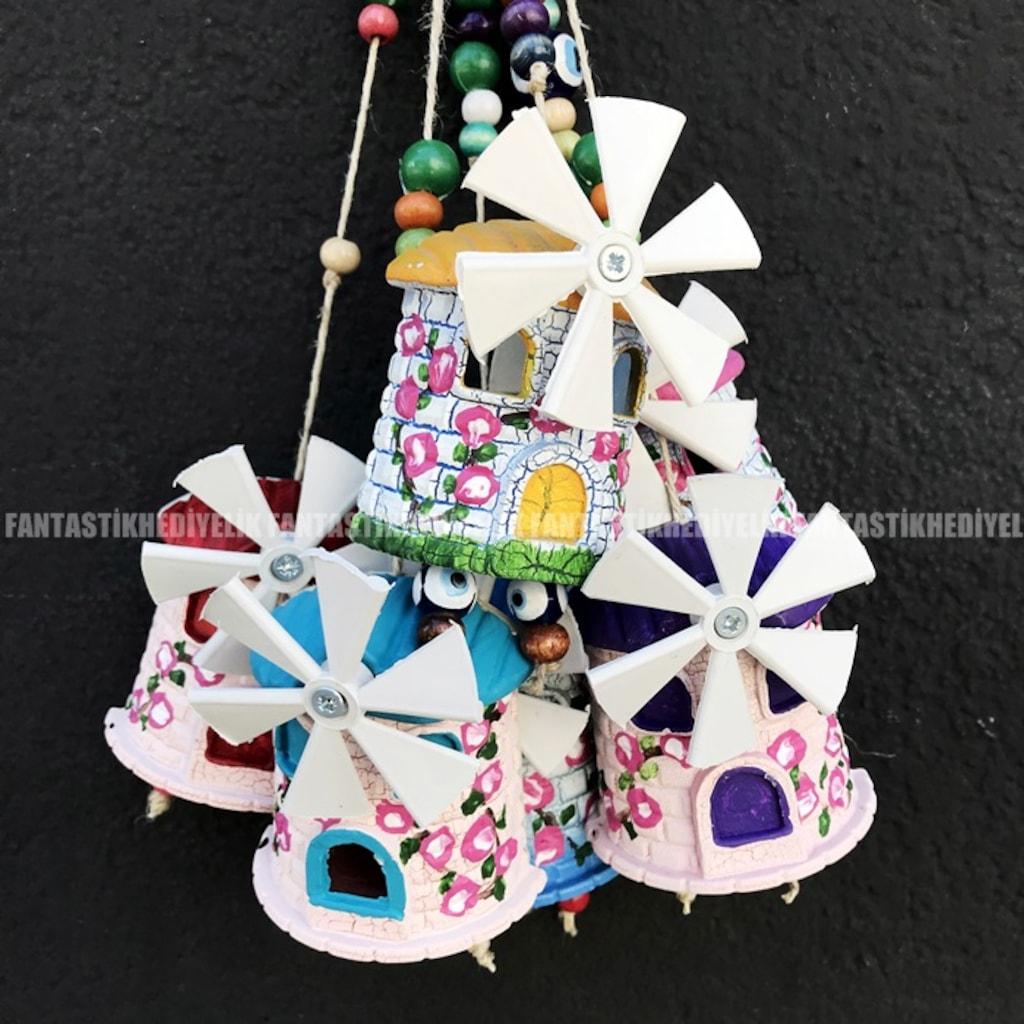 Duvara Asmalık Minyatür Yel Değirmeni El Boyaması Parti Hediyelik
