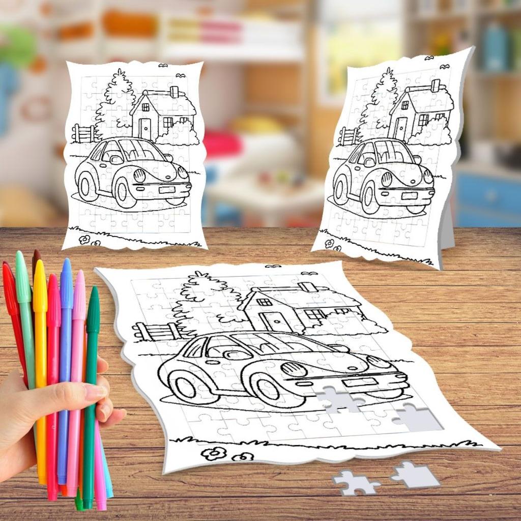 Araba Ev Ve Ağaçlar Boyama Puzzle Tablo çocuk Eğitici Yapboz N11com