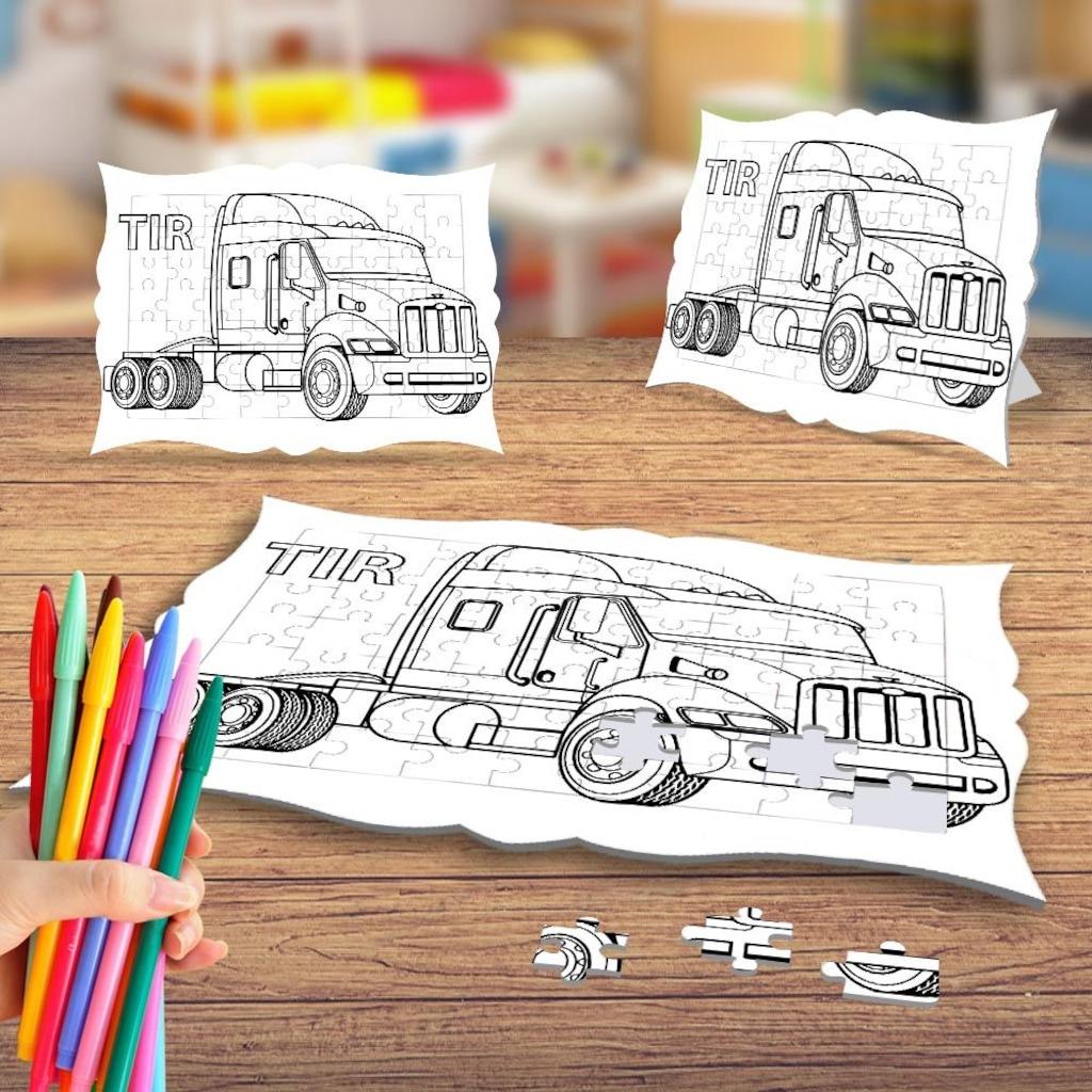 Büyük Tır Kamyonet Boyama Puzzle Tablo çocuk Eğitici Yapboz N11com